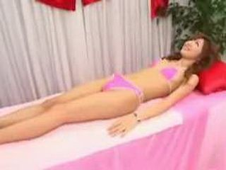 Asian slender girl massage