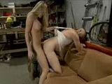 Busty blonde tranny fucks guy on couch