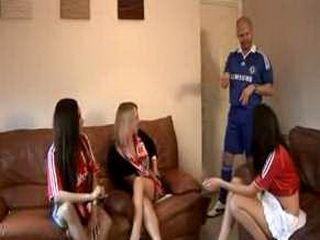 Undressing a soccer fan