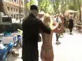 Bondage blonde walks in underwear in public