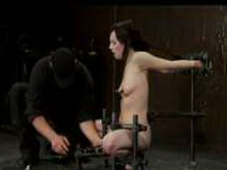 Bound in device brunette toyed and flogged