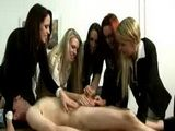 Five girls jerking a limp cock