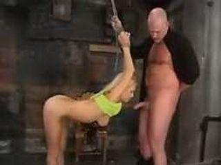 Bondage blonde gets cock deep throat blowjob