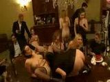 Naked lesbian servants gets whipped in orgy