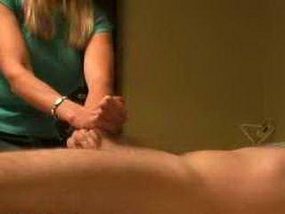 Wife gives hot CFNM handjob