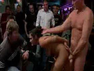 Bound busty brunette fucked in full bar