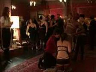 Bound girls and guys at party in the upper floor
