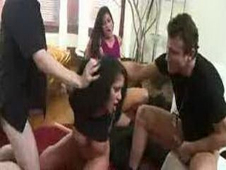 Handcuffed babes double toyed and fucked by three guys