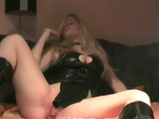 Amateur busty blonde with toying herself