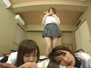Horny Japanese Schoolgirls Attack And Force Their Teacher On Sex