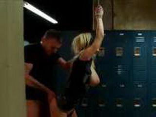 Tied busty blonde gangbanged in locker room