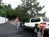 Hot Japanese Girl Interupted While Washing Her Jeep By American Boy