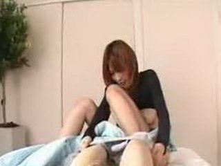 Japanese Cute Girl Showing Her Boobies Skill On Guy's Penis