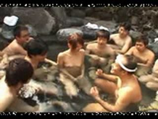 Brave Japanese Girl Having Fun With Dozen Horny And Naked Guys