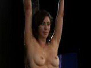 Bound brunette babe impaled on sybian