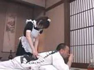 Japanese Maid Grabs Husband's Dick While Wife Is Upsent