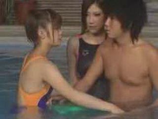 Japanese Girl In Swimming Costume Jerks Off To Her Swimming Coeach While Having A Class At The Public Pool