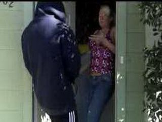 Crazy Guy Knocks At The Door And Hits The Woman With Sperm