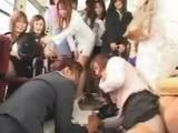 Many Japanese Schoolgirls and Teacher Fuck Poor Bus Driver