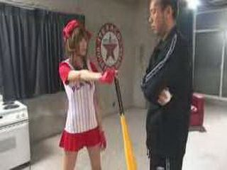 Japanese Baseball Girl Likes To Get It Stucked