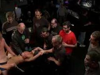 Tied to table busty babe fucked in public bar