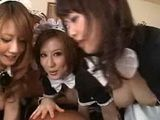 Japanese Maids Giving A Group Sex To Their Boss
