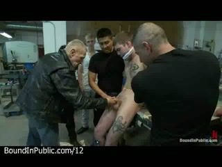 Bound gay sucks dicks to everyone in paint shop