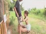 Japanese Girl Doing A Blowjob Outside At The Public Place