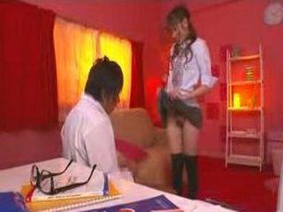 Pervert Japanese Schoolgirl In Short Skirt Shows Her Pussy To The Teacher