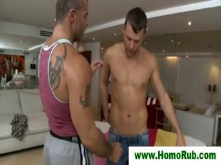 Straight guy gets massage from horny gay
