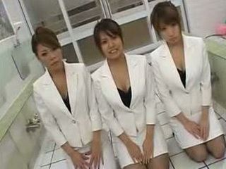 Three Horny Uniformed Japanese Girls Fucking One Guy