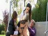 Outdoor clothed threesome with two secretaries