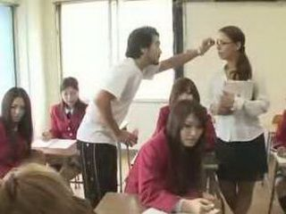 Time Stopper In Action In The Classroom With Teacher And Bunch Of Hot Japanese Schoolgirls