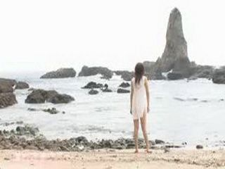 Japanese Girl Have Freedom As Much As She Wants On The Beach Faraway From The People