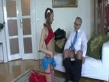 British slut in pigtails fucking an old man