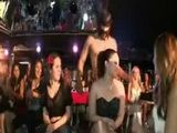 Screaming CFNM babes suck off male stripper at CFNM party