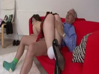 Old man fucks brunette in mini skirt