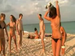 Nudist Teens Have Fun on the Beach