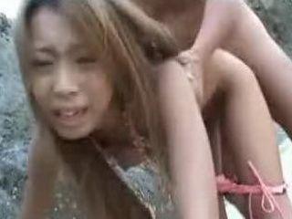 Cute Japanese Girl Got Hardcored In Threesome Sex On The Beach