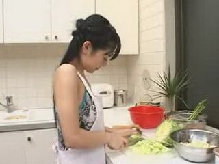 Japanese Housewife Interrupted While Making A Dinner