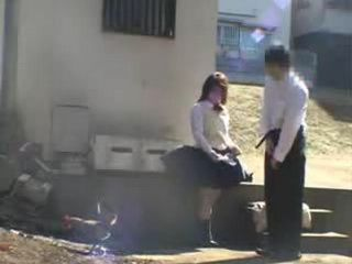 Japanese Schoolgirl Caught By Accident Behind The School While Doing A Porn With Older Guy