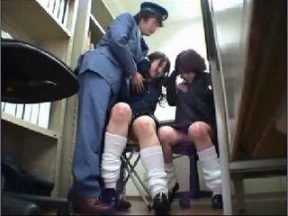 Policeman Fucks Two Teens at Police Station