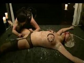 Bound waxed blonde tits clamped in bed