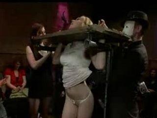 Locked up blonde grope in bar full of strangers