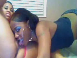 Two beautiful ebony lesbians eating pussy