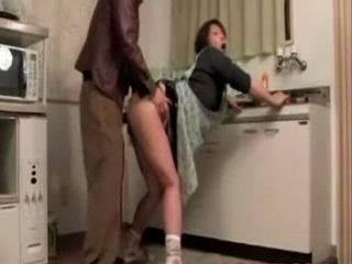 Wife Gets Fucked In kitchen While Her Husband Was In Bathroom