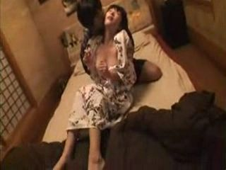 MILF In Kimono Banged By Two Guys