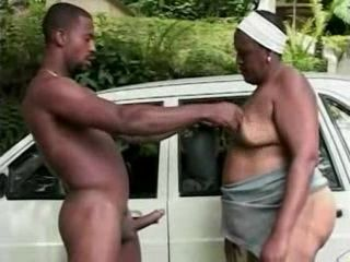 Black Granny Fucked By Young Black Guy Outdoor