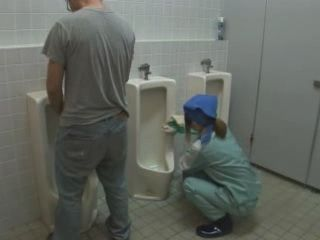 Toilet Cleaner Girl Gets Fucked by Stranger While on Duty