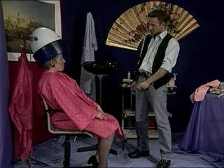 Young Hairdresser Anal Fucks Granny at his Saloon